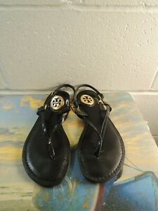 Tory Burch Black Patent Leather Thong Sandals Women Size 7.5M