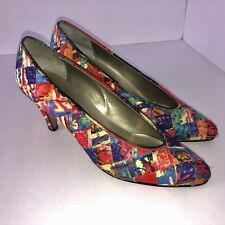 Sesto Meucci Wos Shoes US 5.5 M Multicolor Fabric Slip-On Pumps Heels 80's Disco