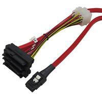 Deconn Mini SAS 36P SFF8087 to 4 X SFF 8482 29P SAS with Power Red Cable 1M