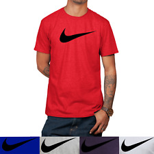 Nike Men's Short Sleeve Swoosh Logo Printed T-Shirt Gray Purple Blue White Red S