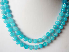 """8mm South African Blue Topaz Gems Round Beads Necklace 54""""AAA"""