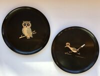 "Two Vintage MCM Couroc Trays Road Runner and Owl: 10.5"" Round Brass + Wood Inlay"