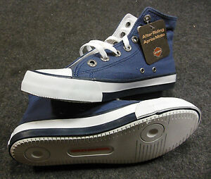Harley Patch Blue Kids Lace Up High Top Running Shoes Sz 12 D61006 #C173