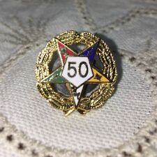"Eastern Star 50 Year Member Pin Fraternal Gold 3/4"" Tie Tack"
