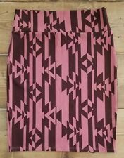 LuLaRoe Women's CASSIE Size L Large Skirt Aztec Pink and Deep Maroon Brown like