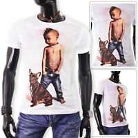 Mens White T-Shirt Riot Kid Stretchy Cotton Punk Bulldog summer Slim Fit UK SIZE