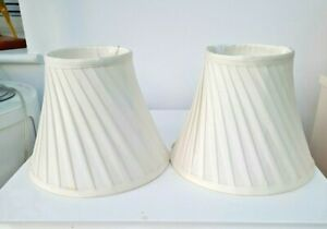 """LOVELY PAIR OF LAURA ASHLEY  SILK PLEATED & LINED LAMPSHADES IVORY, 7 """" tall"""
