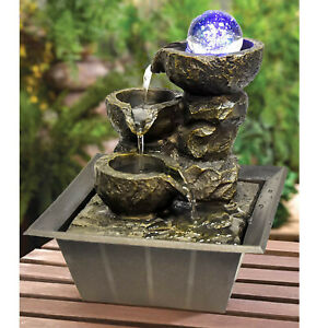 Indoor Stone Fountain Water Feature LED Lights Polyresin Statues Home Decor