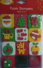 Christmas 12 Piece Foam Stamp Set (includes 2 Ink Pads)