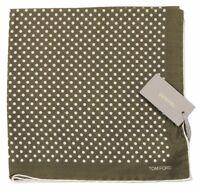 Tom Ford a Pois Fazzoletto da Taschino Pura Seta Verde Nuovo con Etichetta Firma