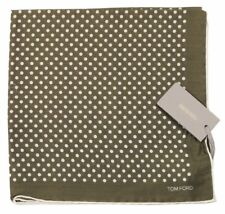 TOM FORD Polka Dot Pocket Square Pure Silk Green BNWT Signature Handkerchief