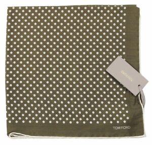 TOM FORD Polka Dot Pocket Square Pure Silk Green BNWT Signature Handkerchief
