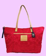 **  COACH 24862 LEGACY WEEKEND Signature Fuschia Satin Tote Handbag Msrp $168.00