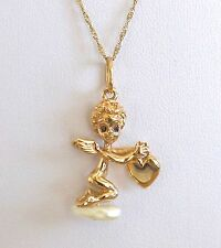 Vintage 14k Solid Yellow Gold Fresh Water Pearl Cupid Motif Pendant Fine Jewelry