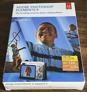 Adobe Photoshop Elements 9 - Window / Mac os open box w. Serial No. Excellent!