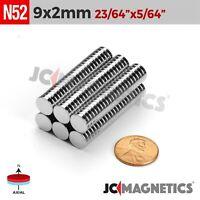 """25 50 100pc 9mm x 2mm 23/64 x 5/64"""" N52 Strong Rare Earth Neodymium Magnet Disc"""