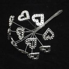 Acrylic Diamante Heart on Silver Wire x 12 Corsage Bouquet Flwer Arrangements