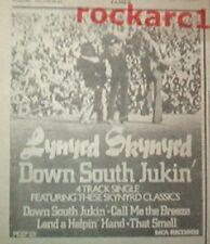 "LYNYRD SKYNYRD DOWN SOUTH JUKIN' 1978  UK mini Press ADVERT 4x3"""