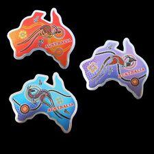 3 Australia Metal Tin Foil Magnet Australia Map Kangaroo Aboriginal Dot Art