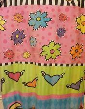 "1 yd of 44"" W Crisp Cotton Fabric By yard Pink Purple Yellow Black/white"
