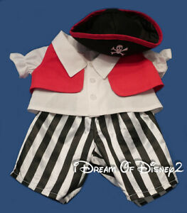 The Bear Mill 4pc PIRATE GIRL BOY COSTUME & HAT Clothes Outfit Fits Build-A-Bear