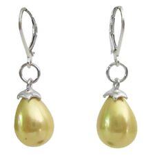 Yellow Freshwater Baroque Pearl Drop 92.5 Silver Leverback Earrings
