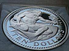 KING NEPTUNE .925 SILVER PROOF  1974 BARBADOS 925 TEN $10 DOLLAR COIN w HOLDER