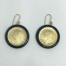Womens 14K Yellow Gold Black Onyx Italian Coin Dangle Drop Earrings Italy Milor