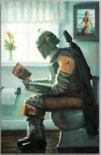 Funny Boba Fett Reading Harry Potter In Toilet Dropping A Bounty Poster Xmas