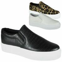 Womens Trainers Ladies Sneakers Slip On Pumps Elastic Platform Gym Casual Shoes
