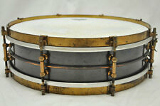 Ludwig BLACK BRASS SNARE Drum Gold 14 x 4 inch 1910-1920's Used Vintage Rare