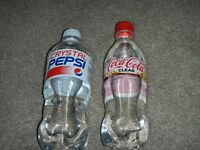 rare CLEAR CocaCola Coke + Crystal Pepsi Soda fresh Japan Limited Edition bottle
