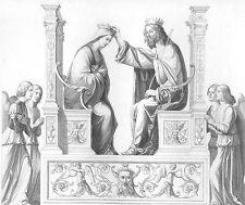 JESUS CHRIST Angels & VIRGIN MARY Crowned QUEEN HEAVEN, 1871 Art Print Engraving