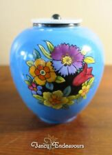 Noritake Japan Art Deco Flowers Porcelain Covered Jar