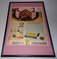 1938 Baker's Chocolate Framed 12x18 ORIGINAL Vintage Advertising Poster