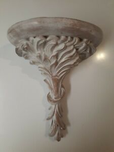 Vintage Painted Ceramic Decorative Wall Shelf Sconce white and beige