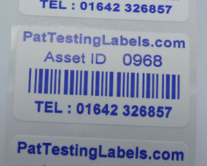 1000 Coloured Blue Personalised Barcode Asset Labels Scratch Proof 51 x 25mm