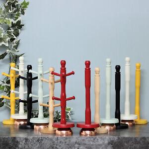 New Wooden 6 Cup Mug Tree Stand Rack & Kitchen Roll Holder Paper Towel Dispenser