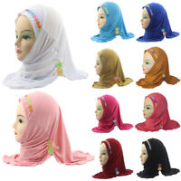 Kids Girls Flower Caps Muslim Scarf Shawls Islamic Hats Underscarf Arab