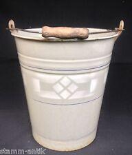 alter kleiner Emaille Eimer/Wassereimer,5 Liter,grau emaill.Spritzdekor,Art Deco