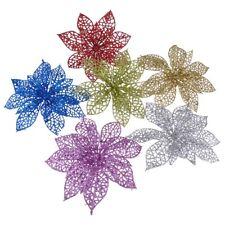 10pcs Glitter Hollow Plastic Petal Christmas Artificial Flower Xmas Party Decor