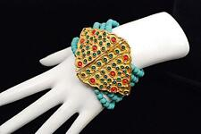 """Bracelet - India - 96 gm Unsigned Gold Vermeil/Turquoise Beaded 7-7/8"""" Long"""