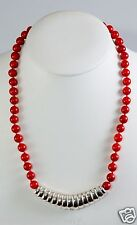 Simon Sebbag Coral Beads w/Coil Sterling Silver Pendant Bar Necklace PN553/SBRC