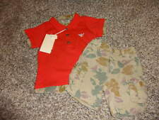 NWT NEW ARMANI BABY 12M 12 MONTHS RED SHIRT FLORAL SHORTS BOYS