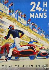 Le Mans grand prix colour Large 1959 Vintage poster 24 Hr Du Mans