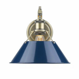 Golden Lighting Orwell AB 1-Light Aged Brass Sconce with Navy Blue Shade