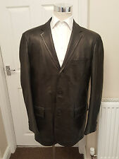 HUGO BOSS LAMBS LEATHER BOX JACKET XL CHEST BLACK COAT , BOSS CUTE TAGGED 46