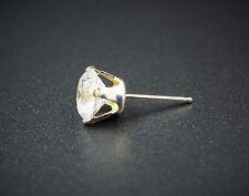 14k Yellow Gold Round Cubic Zirconia CZ Single Stud Earring No Reserve EG727