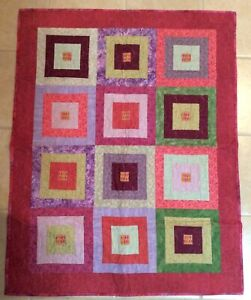 Mauve & Purple Patch Squares Lap Quilt Blanket Butterfly quilting Homemade New