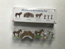 1996 Americana Pewter Collection Ah51 Accessory Set Bridge Horses Mailboxes